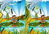 jeu des différence : canard et grenouille